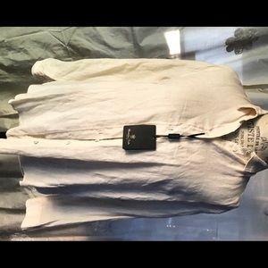 Massimo Dutti light tan linen button down shirt
